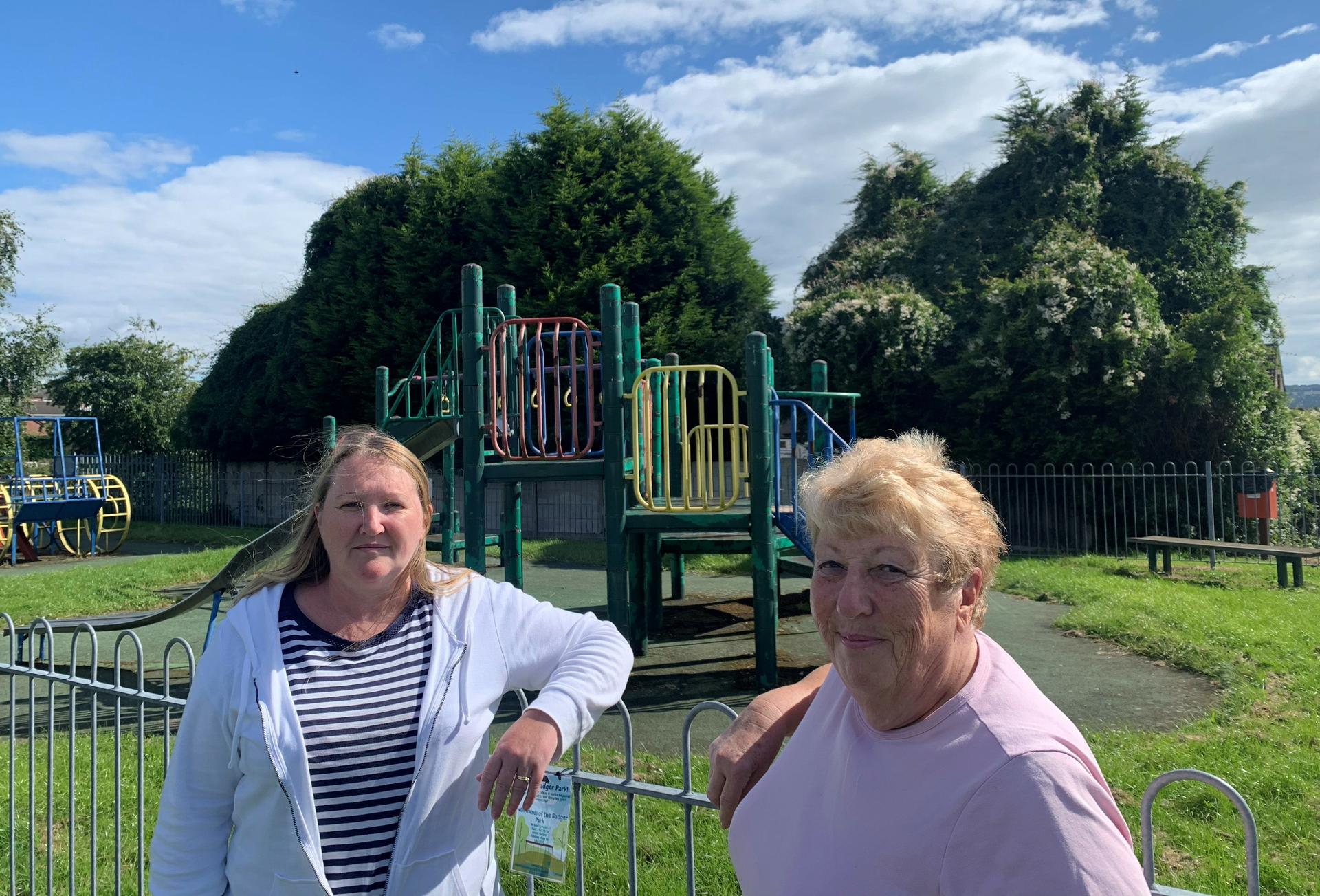 Cllrs Katherine Hollingworth and Maureen Davenport at Badger Park