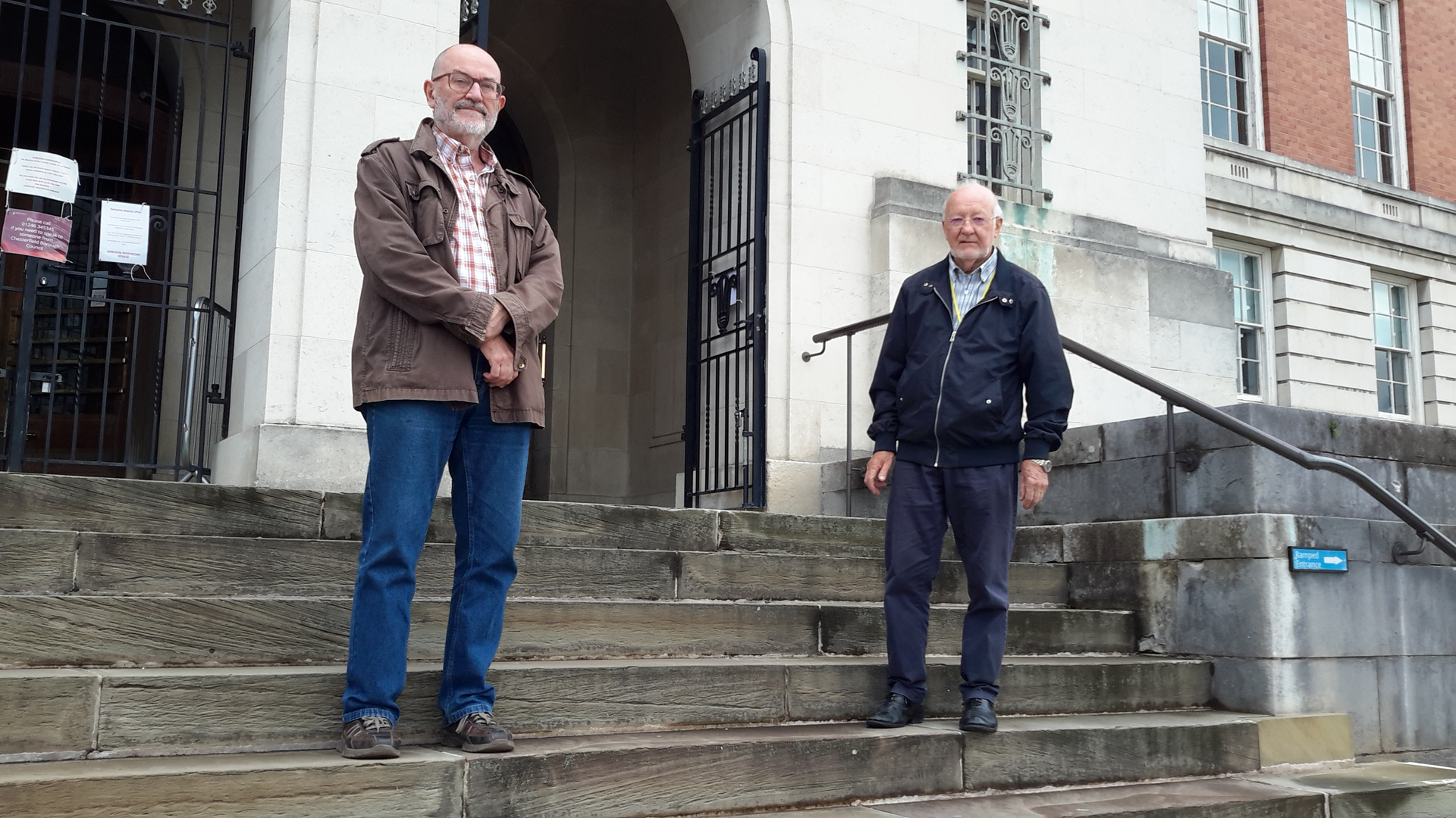 Cllrs Paul Niblock and Keith Falconer at Chesterfield Town Hall