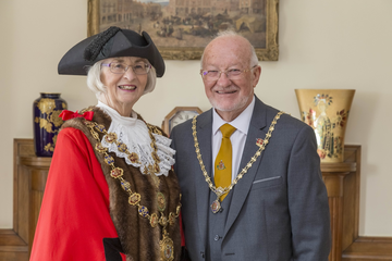The Mayor of Chesterfield Cllr Glenys Falconer, with her consort Cllr Keith Falconer